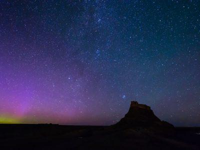 Aurora over Lindisfarne Castle