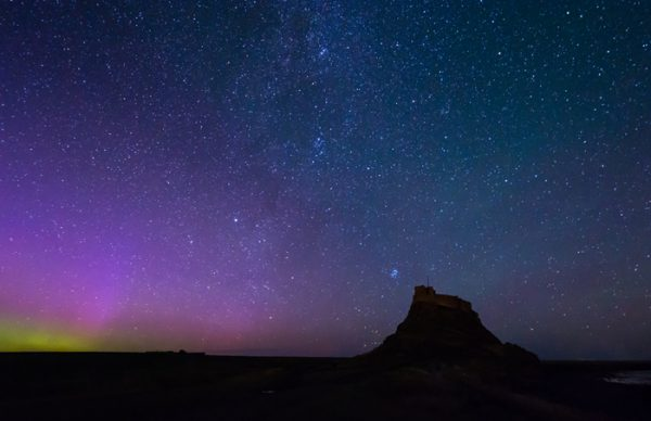 Aurora over Lindisfarne Castle