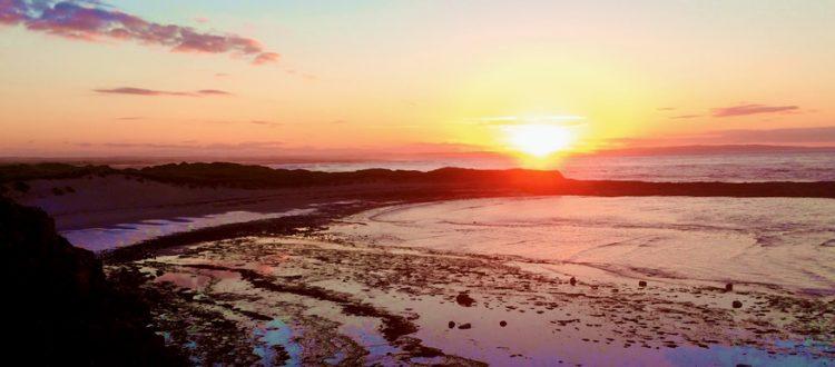 Holy Island sunset on the beach