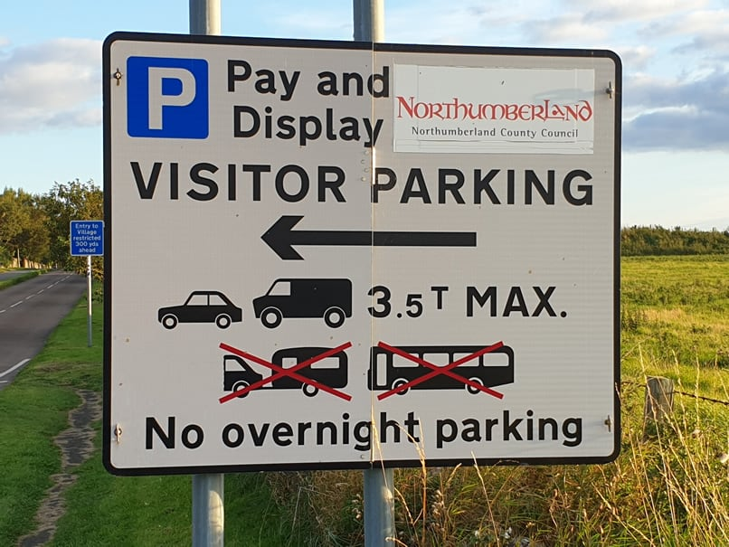 Holy Island Chare Ends Car Park Entrance Sign