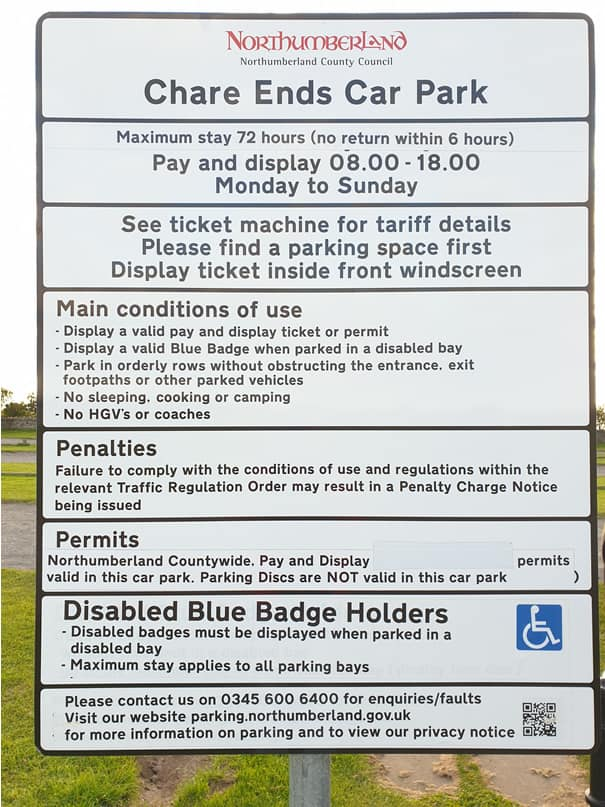 Terms and Conditions of Parking sign, Chare Ends Car Park Holy Island.