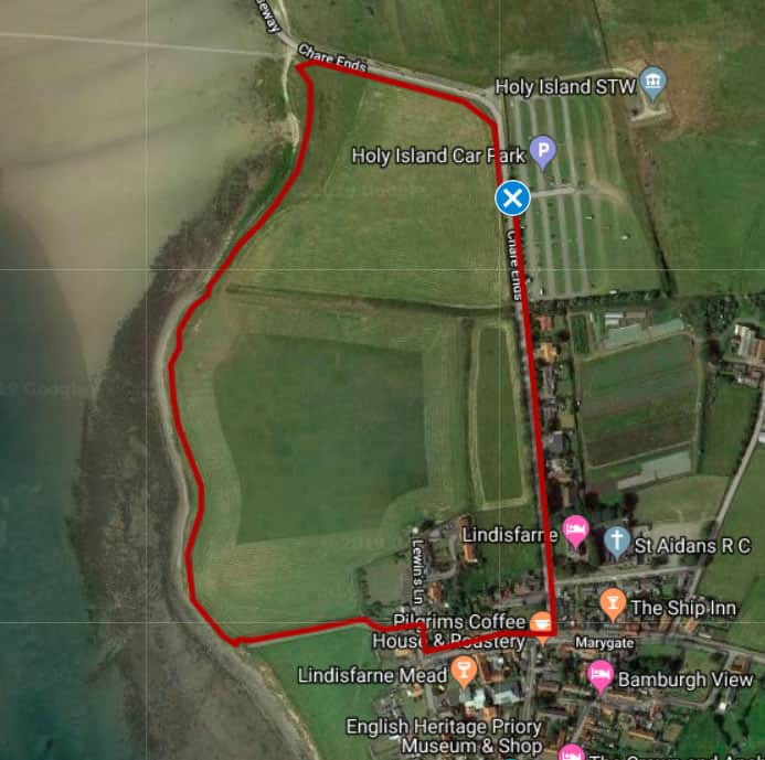 Map of Walk 1: Holy Island foreshore walk