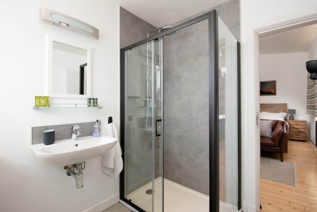 Reiver Studio Bathroom with walk in rainfall shower