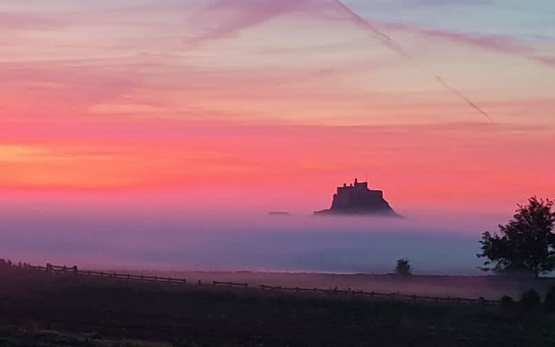 Lindisfarne Castle in the mists