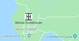 Map showing the location of Belvue Guesthouse on Holy Island. Click for Google Maps larger view